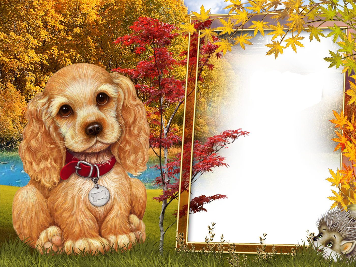 Dog frame clipart clip art free download Fall Style Kids Transparen PNG Photo Frame with Cute Puppy ... clip art free download
