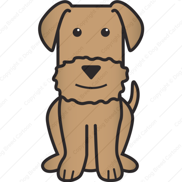 Dog frame clipart clipart black and white download Airedale Terrier   Brown Edition   Dog Breed Cartoon   Download Your ... clipart black and white download