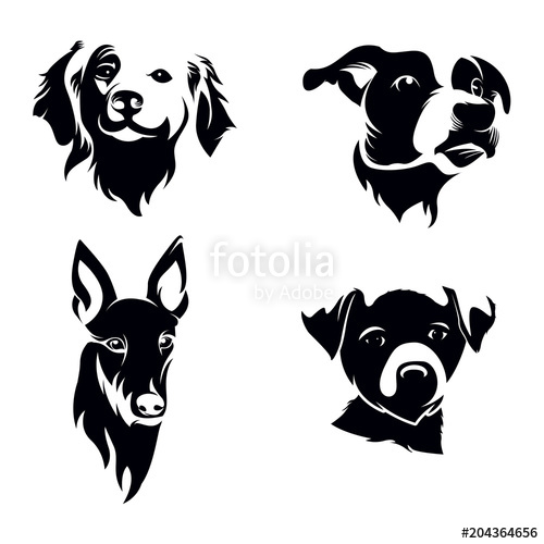 Dog head silhouette clipart png transparent Dog Head Silhouette Set\