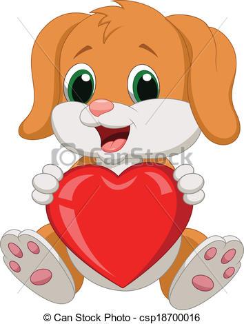 Dog hearts clipart royalty free Vector Clip Art of Dog cartoon holding red heart - Vector ... royalty free