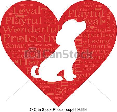 Dog hearts clipart vector stock EPS Vector of Word Dog Heart - A dog in a heart with words ... vector stock