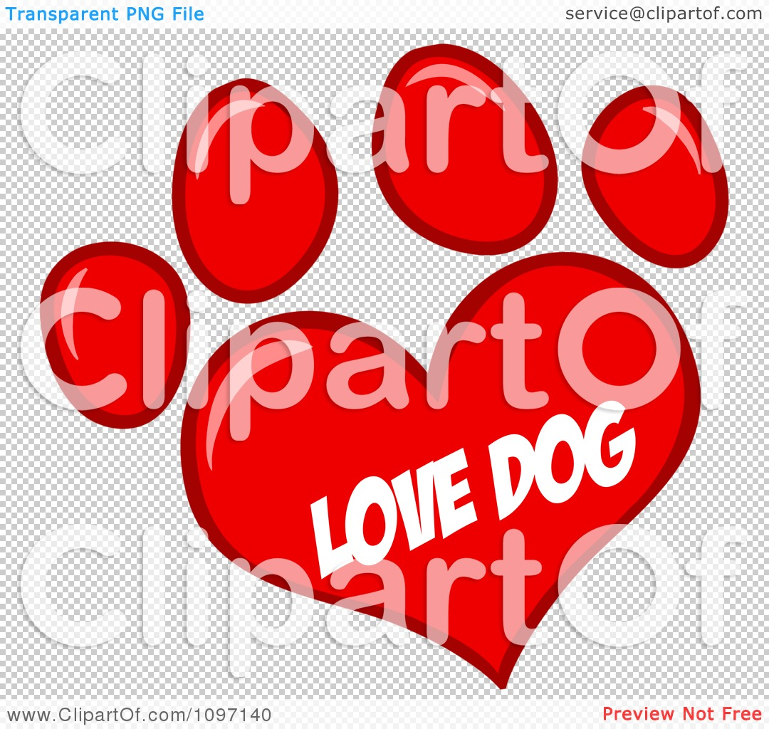 Dog hearts clipart graphic royalty free download Clipart Red Love Dog Heart Shaped Paw Print - Royalty Free Vector ... graphic royalty free download