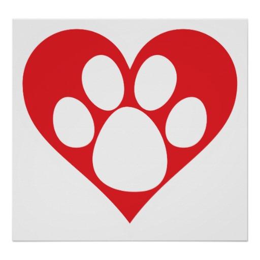 Dog hearts clipart svg free Dog paw prints with heart clipart - ClipartFest svg free