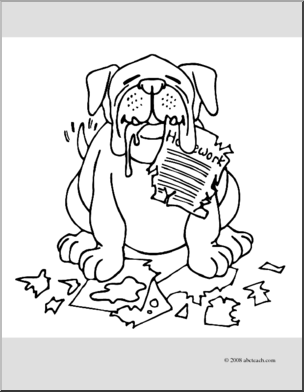 Dog homework clipart clipart transparent library Clip Art: Cartoon Dog Eating Homework (coloring page) | abcteach transparent library