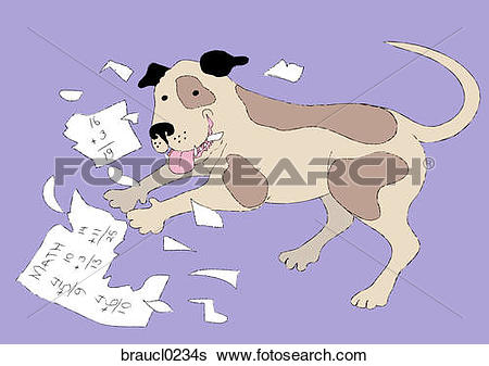 Dog homework clipart clipart clip art black and white library Stock Illustration of The Dog Ate My Homework braucl0234s - Search ... clip art black and white library