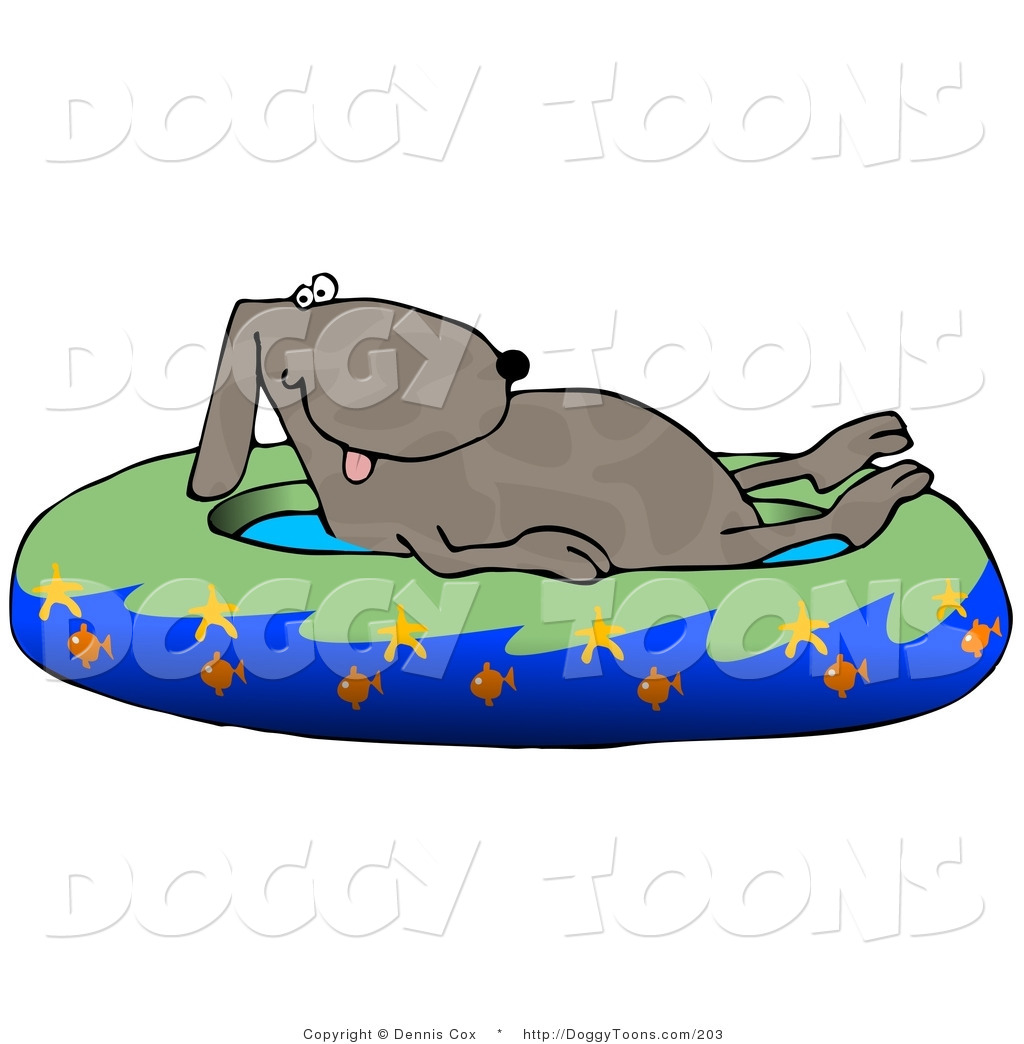 Dog in pool clipart png library Doggy Clipart of a Hot Brown Dog Soaking in a Kiddie Pool Decorated ... png library