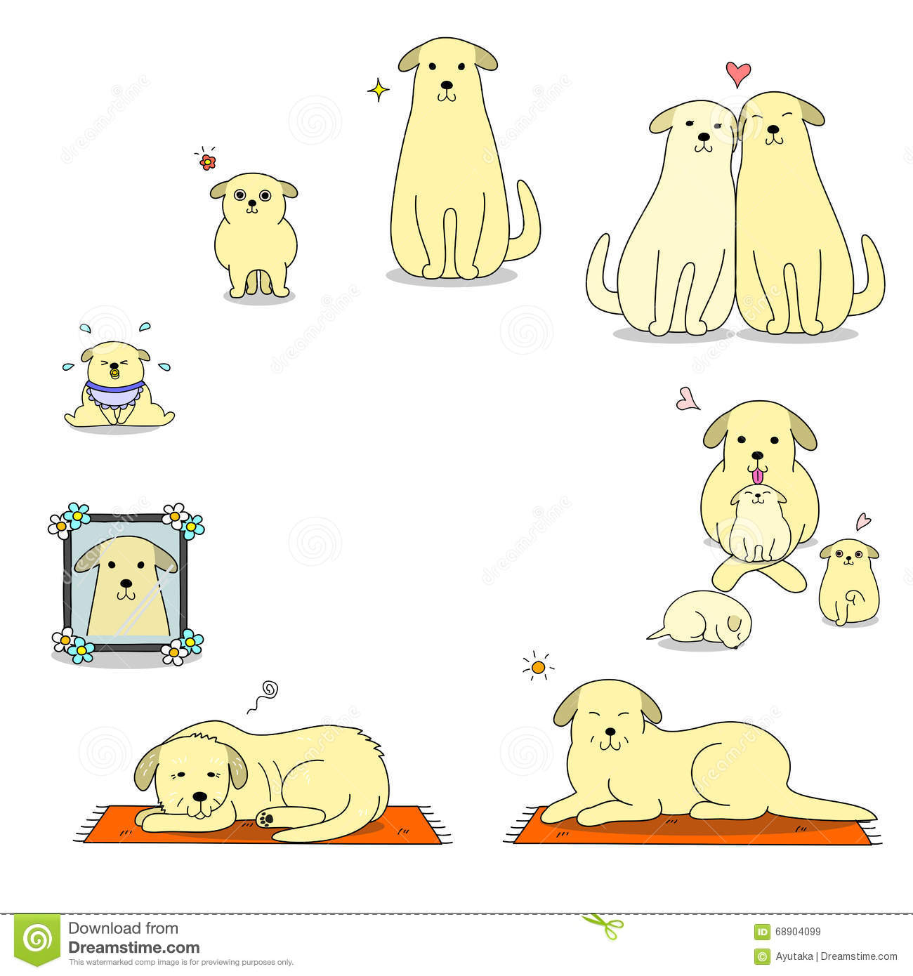 Dog life cycle clipart graphic freeuse stock Dog's Life Cycle Stock Vector - Image: 68904099 graphic freeuse stock