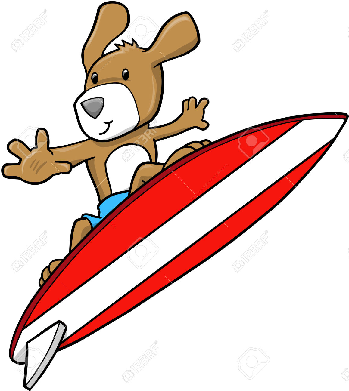 Dog on surfboard clipart image black and white stock Dog surfing clipart - ClipartFest image black and white stock