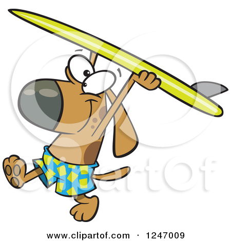 Dog on surfboard clipart banner freeuse download Royalty-Free (RF) Clipart Illustration of an Upright Surfboard ... banner freeuse download