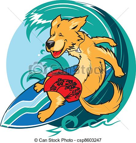 Dog on surfboard clipart clip art stock Vectors Illustration of Surfer Dog - Happy golden retriever ... clip art stock