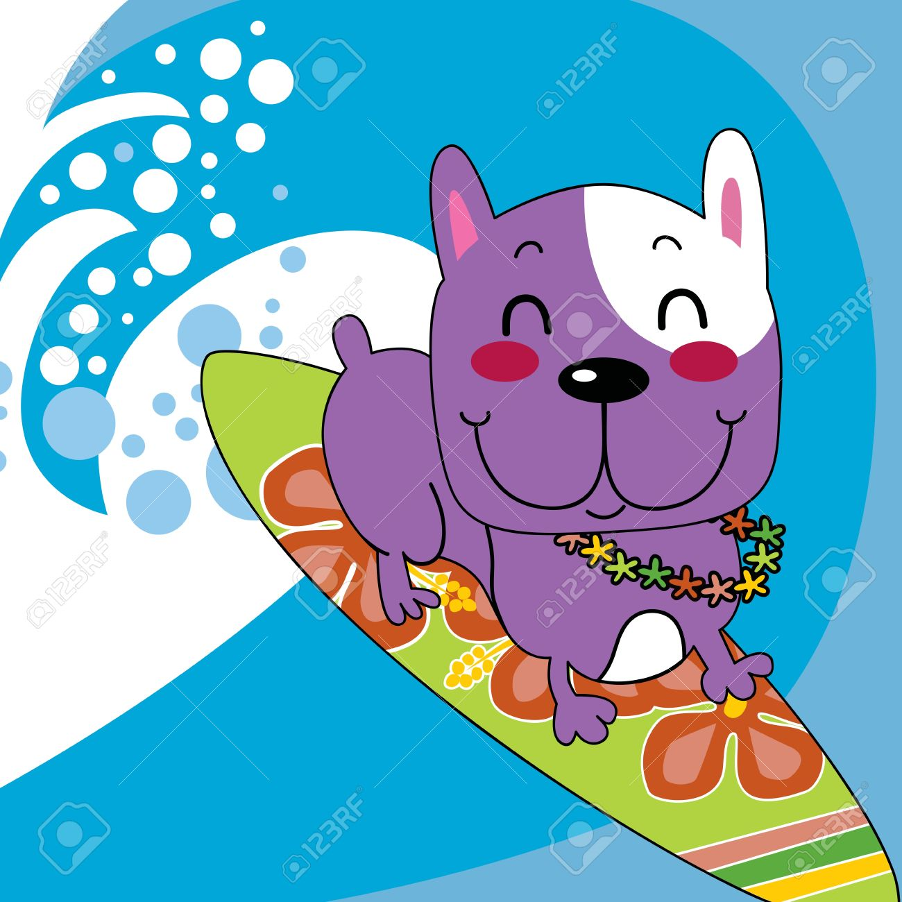 Dog on surfboard clipart svg black and white Cute French Bulldog Happy Surfing Ocean Wave On Surfboard With ... svg black and white