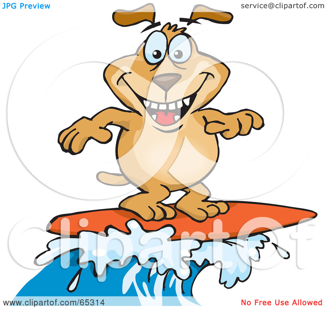 Dog on surfboard clipart clip transparent library Royalty-Free (RF) Clipart Illustration of a Sparkey Dog Surfing On ... clip transparent library