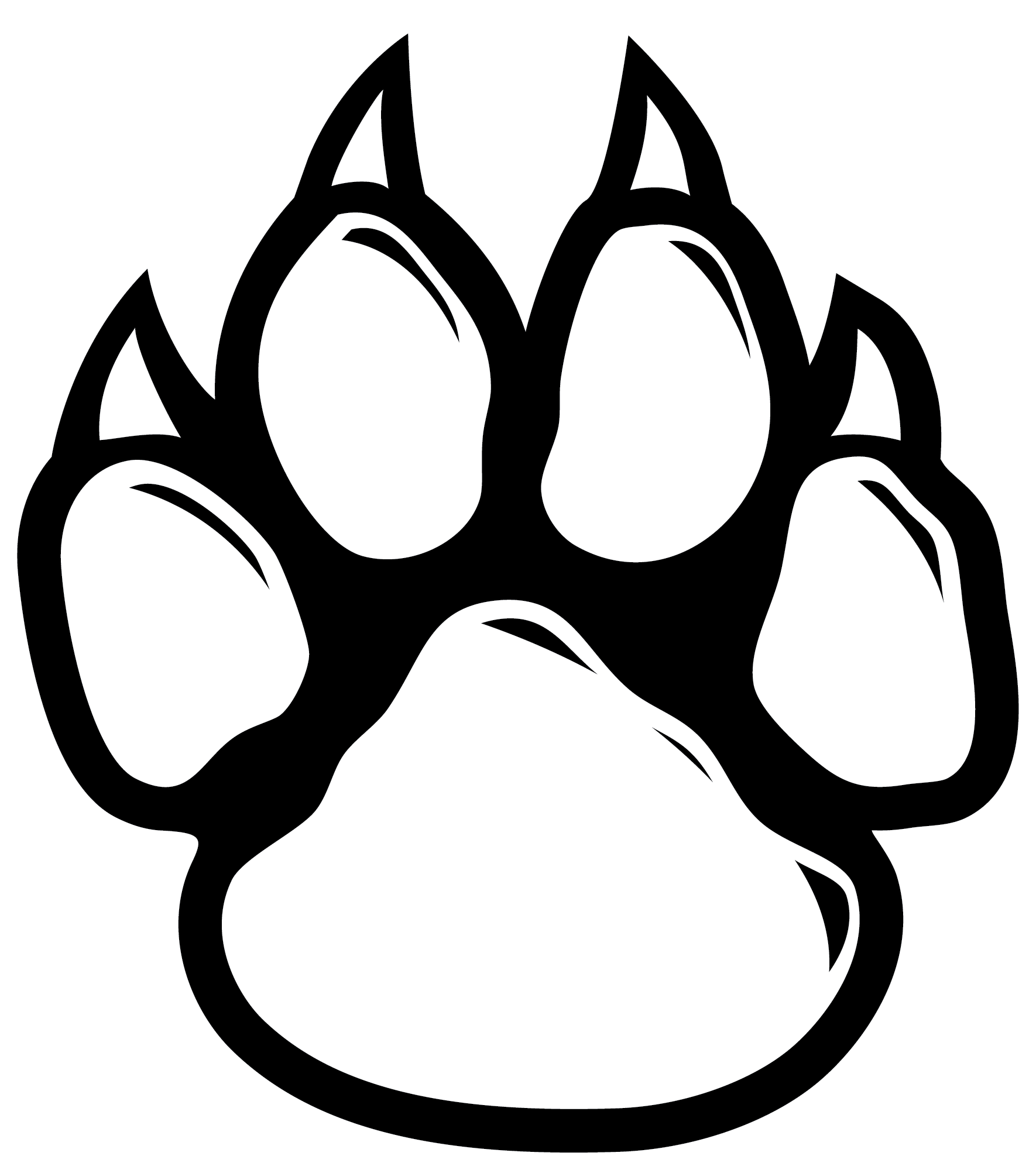 Dog paw black and white clipart picture freeuse library Wildcat Paw Dog Clip art - Cat 1770*2000 transprent Png Free ... picture freeuse library
