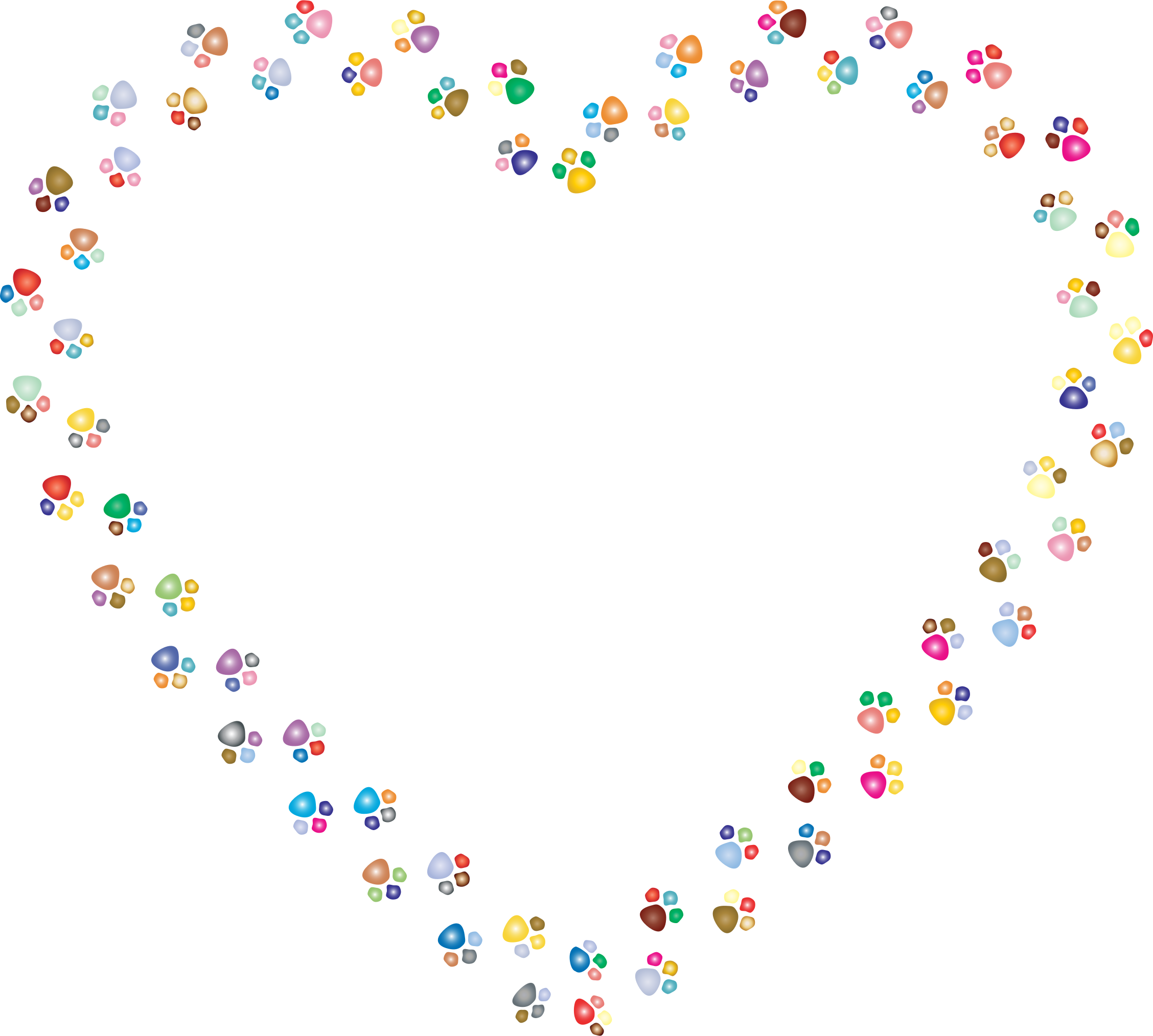 Dog paw heart clipart jpg free download Clipart - Colorful Paw Prints Heart Mark II 2 jpg free download