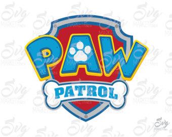 Dog paw patrol logo clipart free banner black and white stock Paw patrol clipart   Etsy banner black and white stock