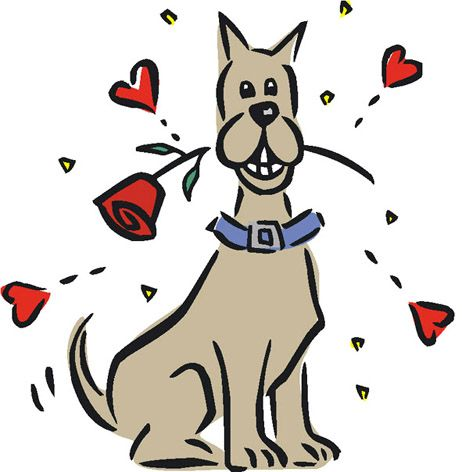Dog smiling clipart with hearts svg royalty free Happy smiling dog with a red rose in its mouth + drawings of red ... svg royalty free