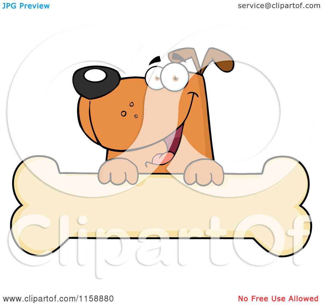 Dog smiling clipart with hearts banner free Cartoon of a Happy Brown Dog Smiling over a Bone Sign - Royalty ... banner free