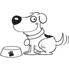 Dog tail clipart black and white vector Happy Cartoon Dog Wagging Tail (Black & White Line Art) by Toon ... vector