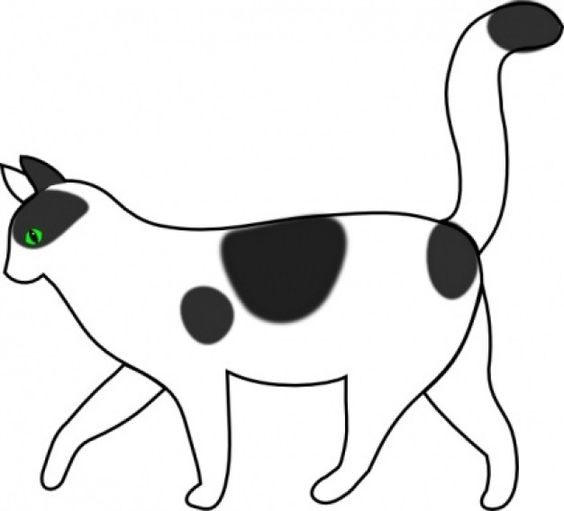 Cat clip art side. Dog tail clipart black and white
