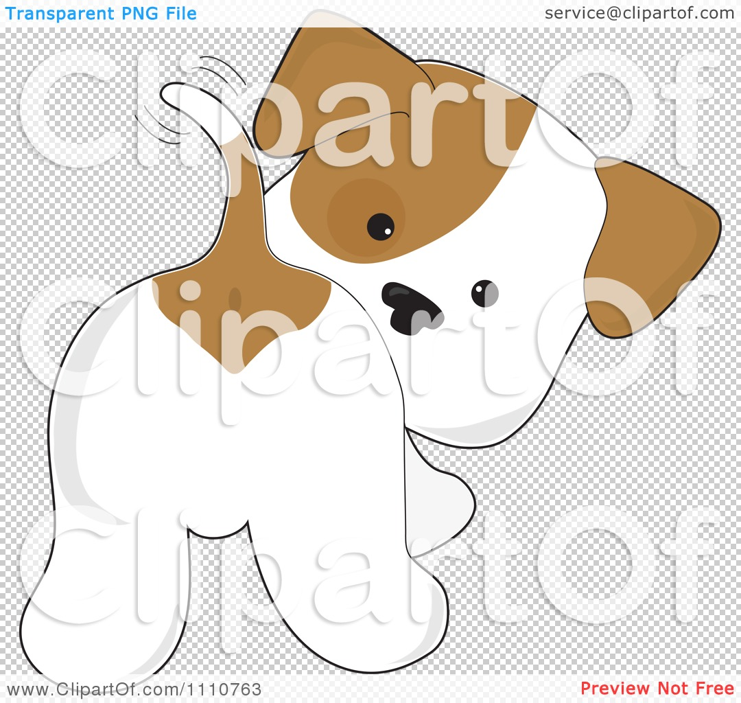 Dog tail wag clipart. Cute puppy looking back