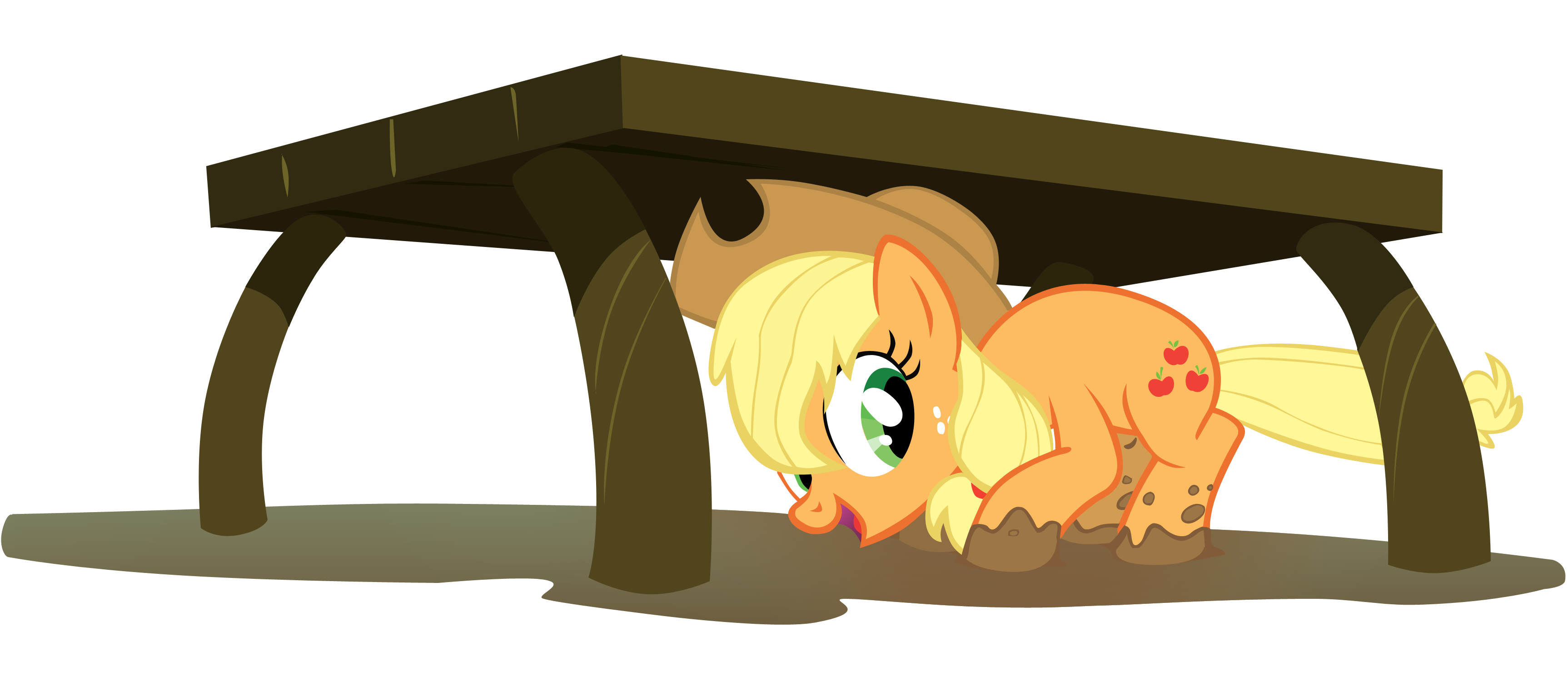 Dog under the table clipart clip royalty free stock Applejack under table by SierraEx on DeviantArt clip royalty free stock