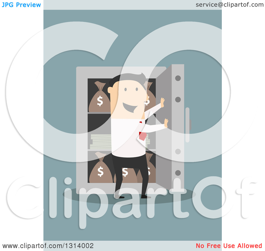 Dog vault clipart jpg library download Clipart of a Flat Design White Businessman Opening a Vault Full of ... jpg library download