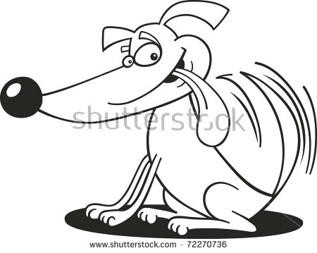 Dog wagging tail clipart png library library Illustration Of Dog Wagging His Tail For Coloring Book - 72270736 ... png library library