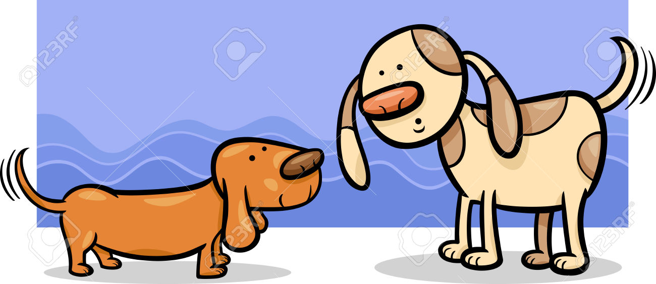 Dog wagging tail clipart jpg free download Cartoon Illustration Of Two Funny Dogs Wagging Their Tails Royalty ... jpg free download