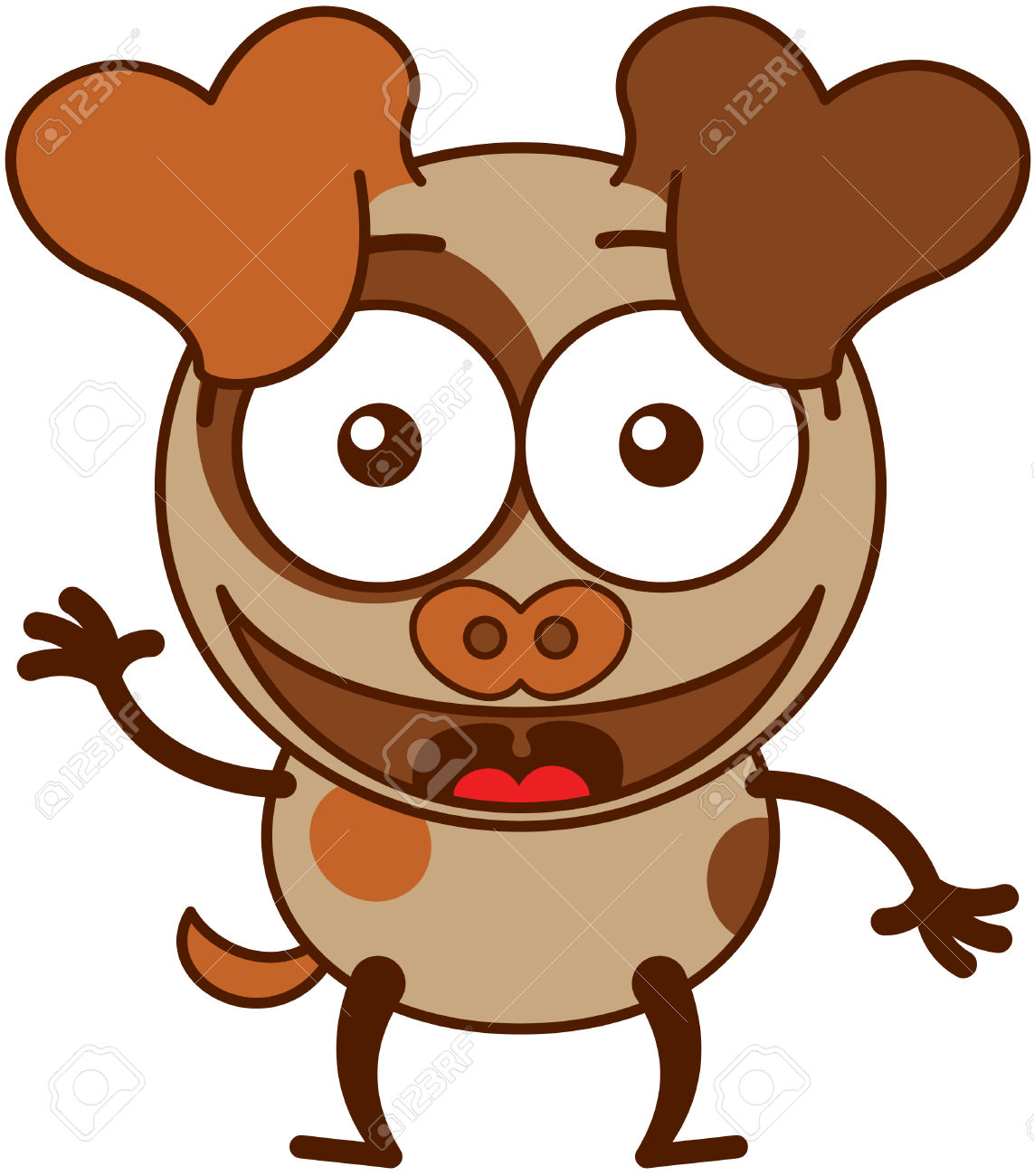 Dog with big ear clipart banner library Cute Brown Dog In Minimalistic Style With Big Hanging Ears Bulging ... banner library