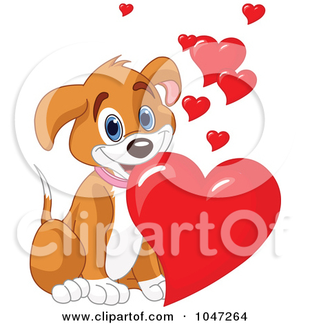 Dog with hearts clipart clip art black and white stock Cartoon of a Cute Puppy Couple Sharing a Valentines Day Bone ... clip art black and white stock