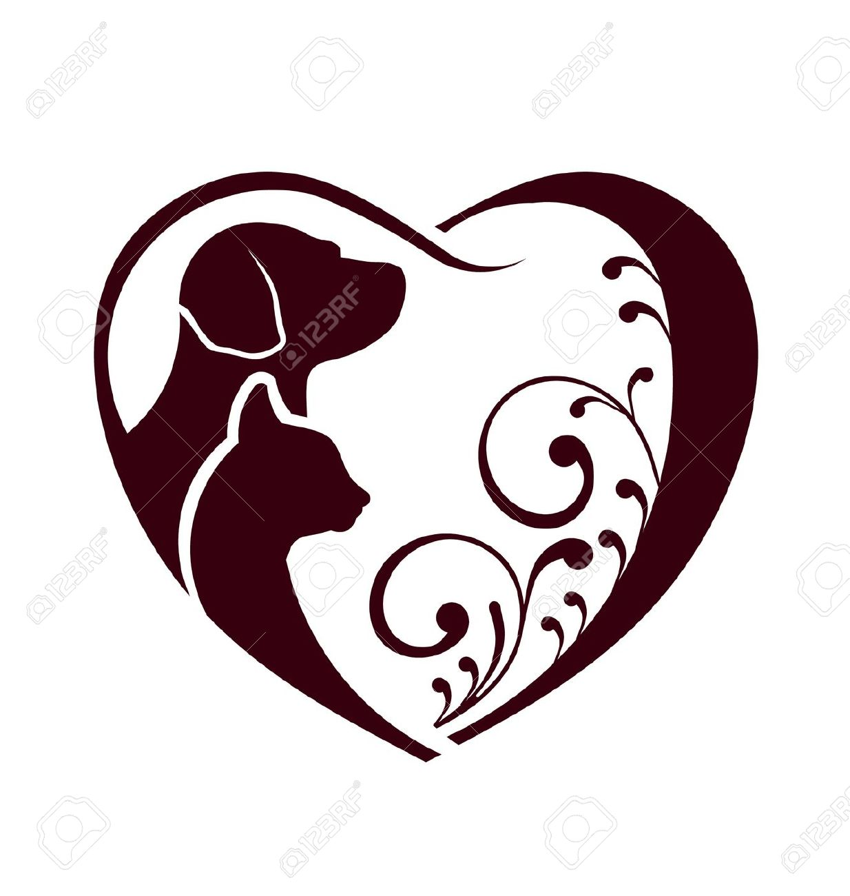 Dog with hearts clipart clip art free 17 Best images about Tattoos on Pinterest | Cat outline, Cat paw ... clip art free