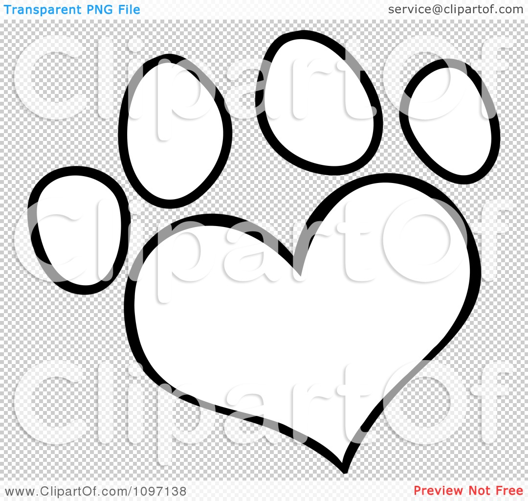 Dog with hearts clipart banner royalty free Clipart Outlined Heart Shaped Dog Paw Print - Royalty Free Vector ... banner royalty free