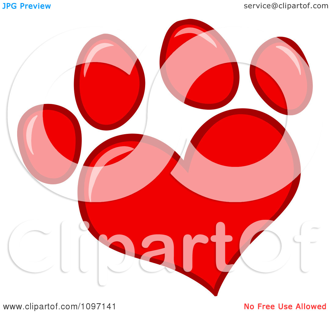 Dog with hearts clipart clipart black and white stock Clipart Red Heart Shaped Dog Paw Print - Royalty Free Vector ... clipart black and white stock