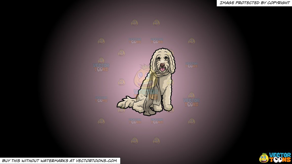 Dog with scarf clipart black and white banner library library Clipart: A Curly Dog Wearing A Scarf on a Pink And Black Gradient Background banner library library