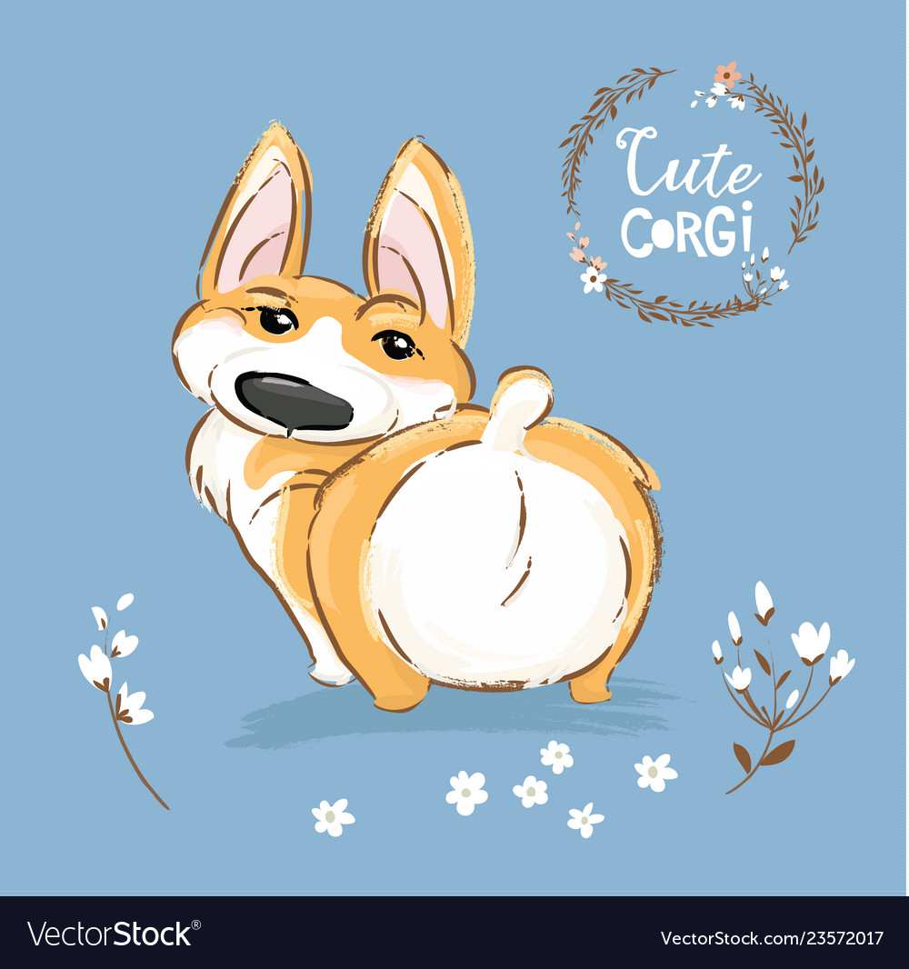 Dogs sitting on a fence with tails clipart back view svg freeuse Cute corgi dog puppy back tail vector image svg freeuse