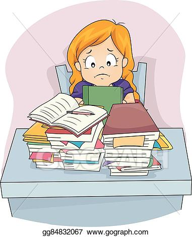 Doing homework depression clipart svg royalty free download Vector Art - Kid girl sad piled homework stressed. EPS clipart ... svg royalty free download