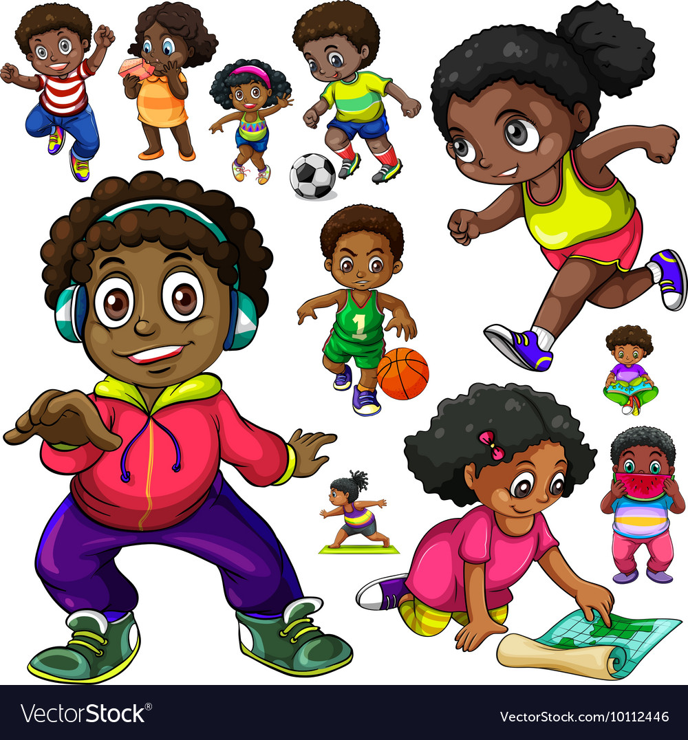 Doing things when asked clipart jpg stock African American kids doing different things jpg stock