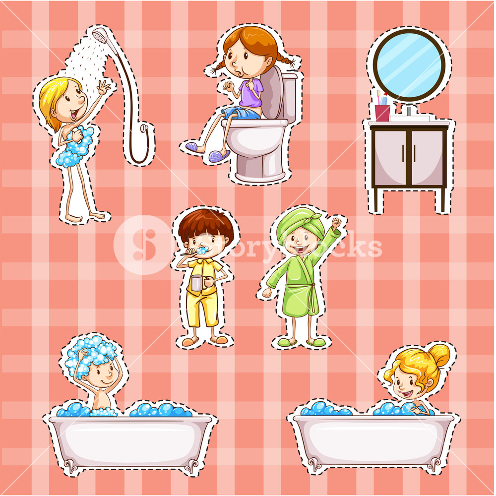 Doing things when asked clipart svg library download Sticker design with kids doing things in bathroom Royalty-Free Stock ... svg library download