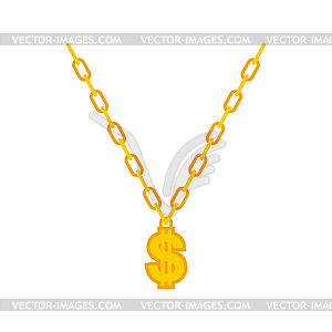 Dollar necklace clipart library Dollar on gold chain. Rapper necklace - vector clipart library