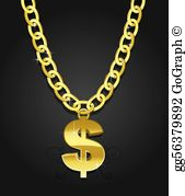 Dollar necklace clipart banner library stock Gold Chain Clip Art - Royalty Free - GoGraph banner library stock
