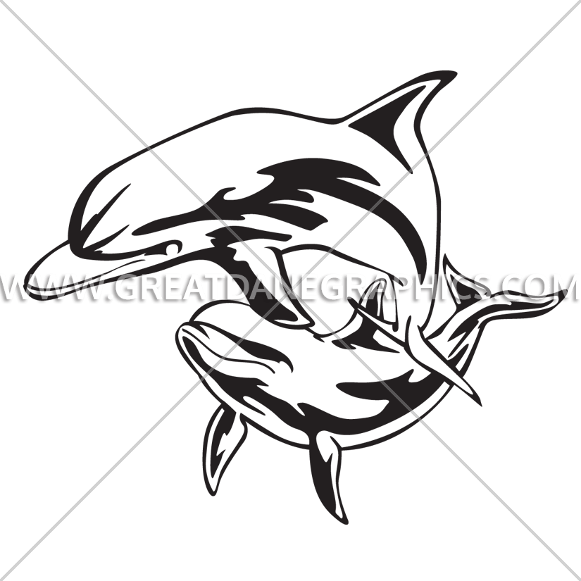 Dophin fish clipart. Tropical dolphins production ready