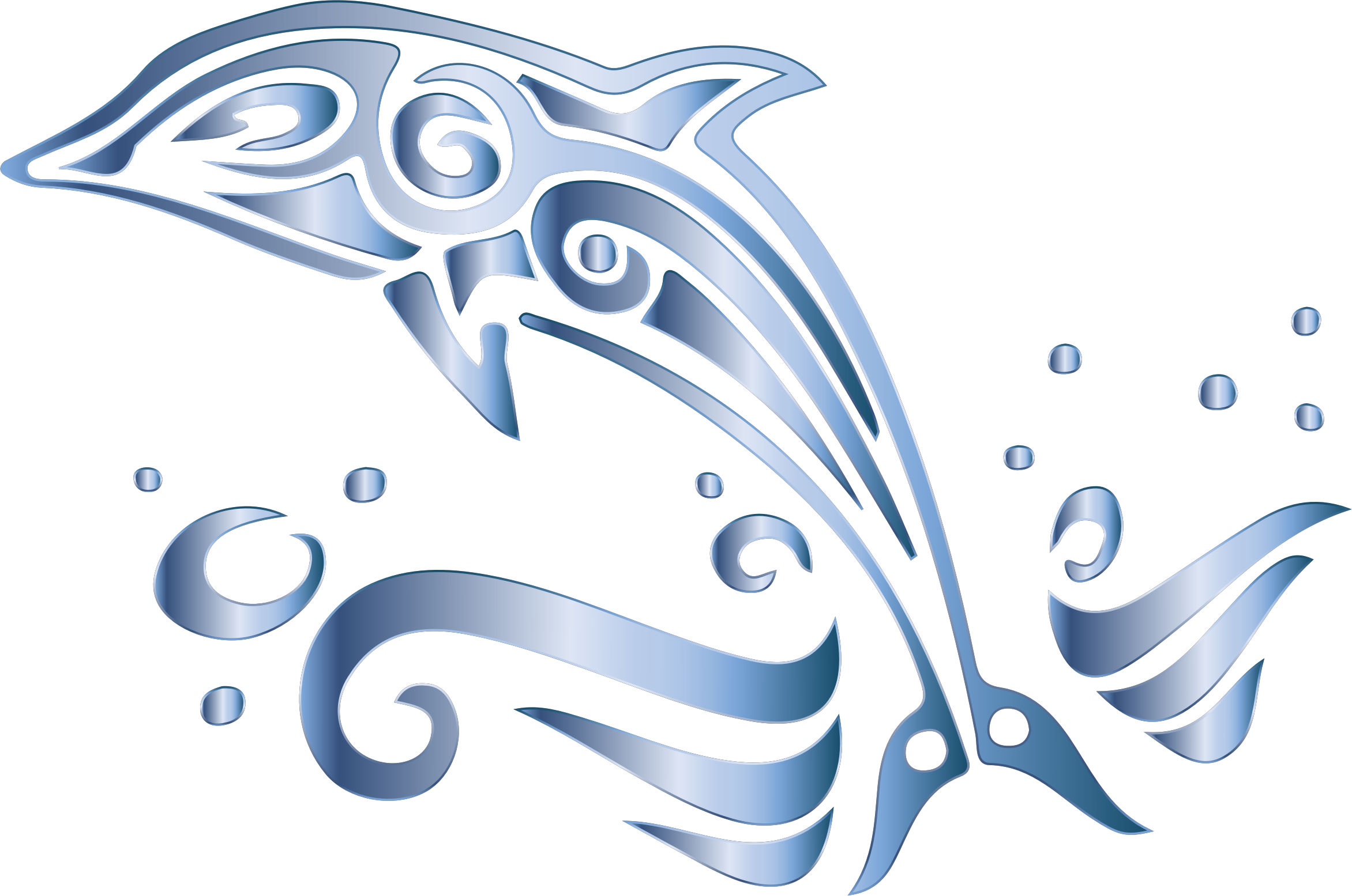 Chromatic tribal no background. Dolphin heart clipart