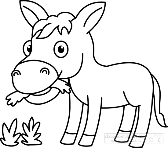Donkey clipart black and white svg black and white stock Grass black and white animals clipart donkey eating grass black ... svg black and white stock
