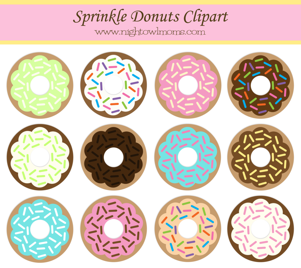 Donut clipart free banner freeuse stock Free Sprinkle Donut Clipart | Night Owl Moms | Donut decorations ... banner freeuse stock
