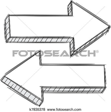 Doodle arrow clip art clipart royalty free Clip Art of Doodle of arrow pointing left and r k7835378 - Search ... clipart royalty free