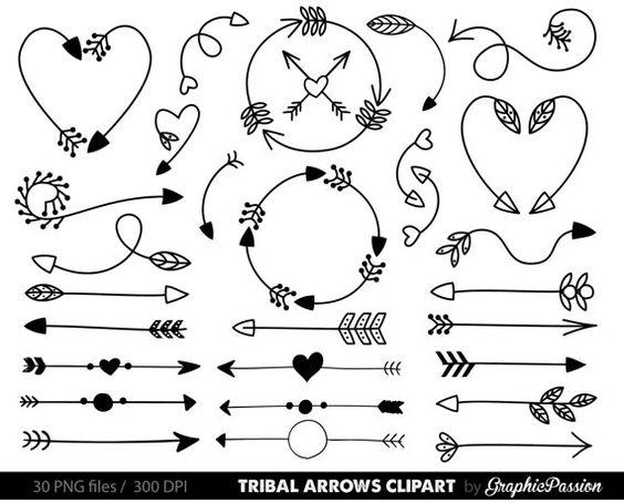 Doodle arrow clip art picture freeuse Arrows clip art, tribal arrow clip art, archery hand drawn arrows ... picture freeuse