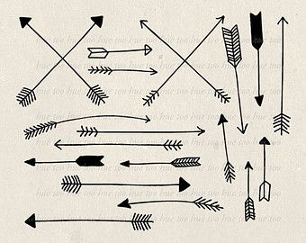 arrows clip art, tribal arrow clipart, archery hand drawn arrows ... freeuse