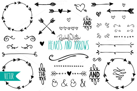 Hearts & Arrows - Vector & PNG | Artworks, Creative and Scrapbooking graphic library library