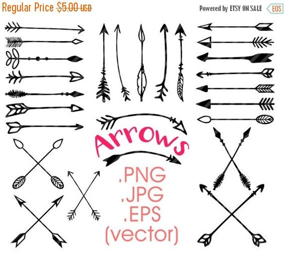 80% off Entire Store Arrows clipart: hand drawn arrows tribal ... banner royalty free