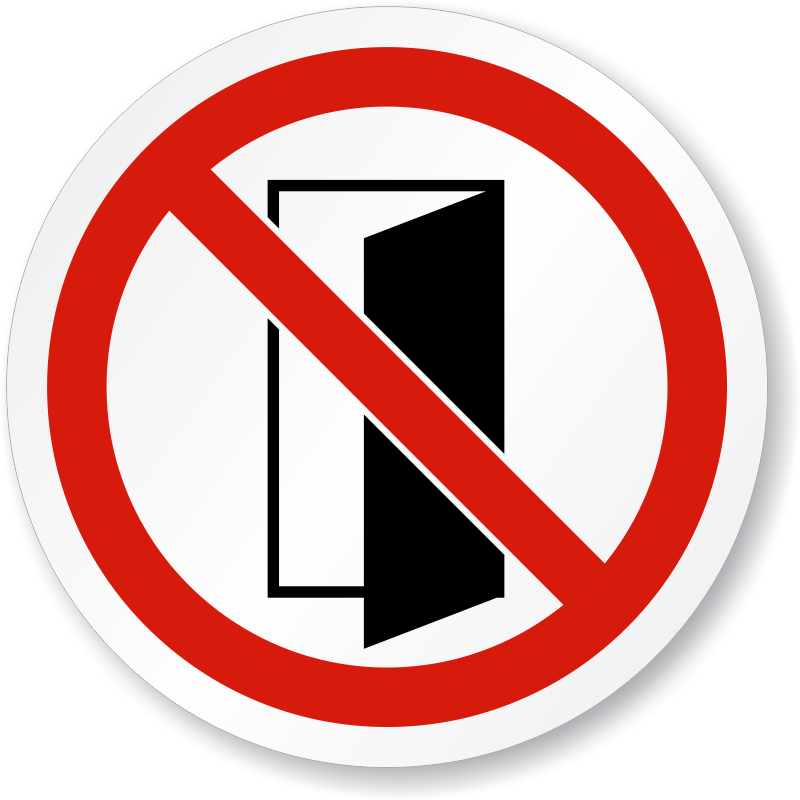 Door closed clipart clip art black and white library ISO Do Not Close Open Door Sign, SKU: IS-1286 - MySafetySign.com clip art black and white library